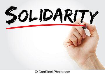 teken, hand, solidariteit, schrijvende