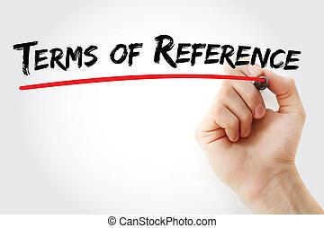 teken, hand, termijnen, referentie, schrijvende