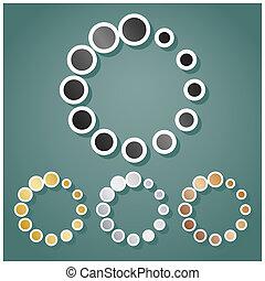 teken., helling, set, achtergrond., illustration., brons, witte , circulaire, iconen, goud, grijs, schaduw, omtrek, metalen, viridan, zilver, inlading