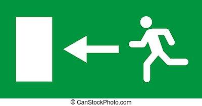 teken., helpen, rennende , deur, pictogram, vector, evacuatie, afslaf, ontsnapping, man, symbool., veiligheid