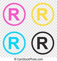 teken., iconen, geregistreerd handelsmerk, cmyk, achtergrond., transparant