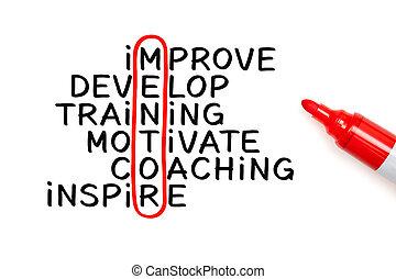 teken, kruiswoordraadsel, concept, mentoring, rood