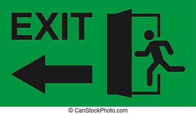 teken., man, pictogram, ontsnapping, afslaf, helpen, symbool., deur, vector, rennende , evacuatie, veiligheid