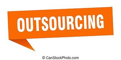teken., outsourcing, lint, bubble., spandoek, toespraak