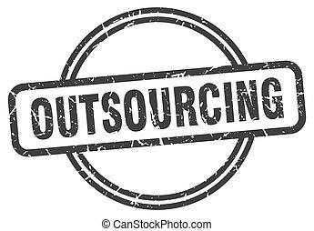 teken., outsourcing, ronde, grunge, ouderwetse , stamp.