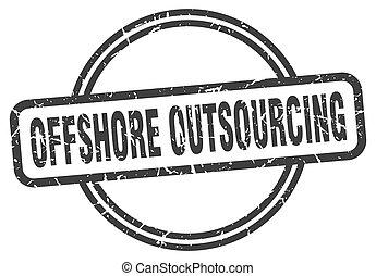 teken., outsourcing, voor de kust, ronde, grunge, ouderwetse...