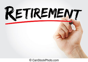 teken, pensioen, hand het schrijven