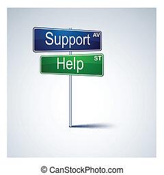 teken., richting, steun, straat, helpen