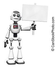 teken., robot, spotprent, vasthouden, het glimlachen, witte