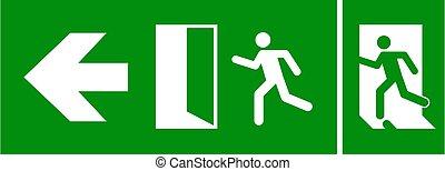 teken., route, meldingsbord, ontsnapping, pictogram, afslaf, deur, noodgeval, richtingwijzer, vuur, evacuatie, vector