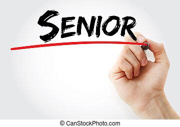 teken, senior, hand het schrijven