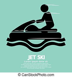 teken., sportende, ski, straalvliegtuig