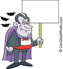 teken., spotprent, vasthouden, vampier