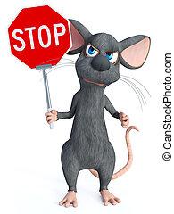 teken., stoppen, vertolking, vasthouden, muis, spotprent, 3d