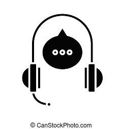 teken., toespraak, black , plat, pictogram, illustratie, audio, symbool, concept, vector, glyph
