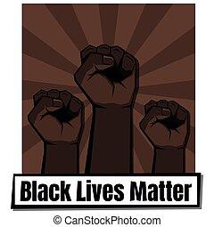 teken., van belang zijn, vuisten, drie, dichtgeklemde, leven, black