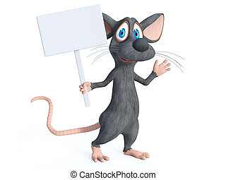 teken., vertolking, vasthouden, leeg, muis, spotprent, 3d