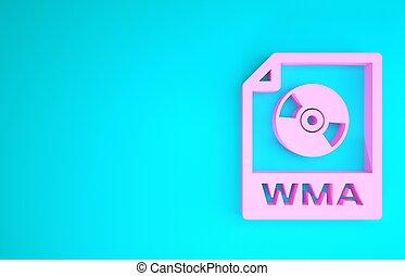 teken., vrijstaand, document., wma, formaat, bestand, pictogram, 3d, achtergrond., blauwe , concept., roze, knoop, symbool., render, illustratie, downloaden, muziek, minimalism