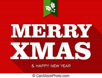 teken., vrolijk, jaar, nieuw, kerstmis, vrolijke
