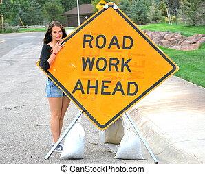 teken., werken, straat, vooruit