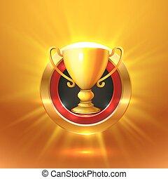 teken., winnaar, goud, object., kop
