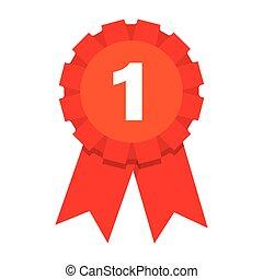 teken., winnaar, toewijzen, plek, icon., medaille, eerst