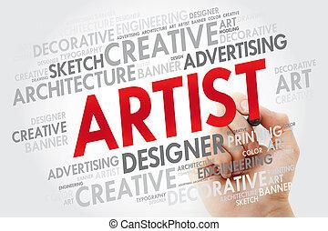teken, woord, wolk, kunstenaar