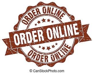 teken., zeehondje, online, order, stamp.