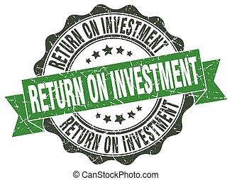 teken., zeehondje, terugkeren, investering, stamp.
