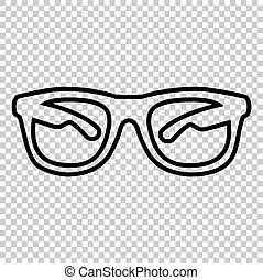 teken., zonnebrillen, lijn, pictogram