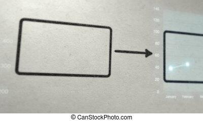 tekendiagram, met, zakelijk, tabel