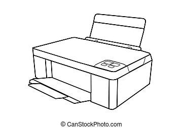 tekening, alle-in-een, printer