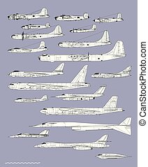 tekening, amerikaan, vliegtuig, bombers., geschiedenis, ...