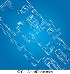 tekening, architecturaal, plan