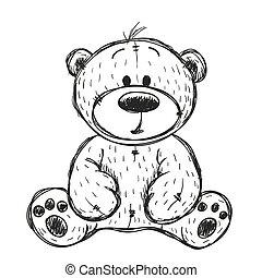 tekening, beer, teddy