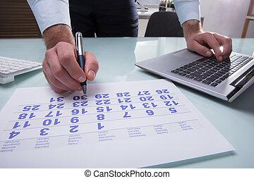 tekening, businessperson, pen, kalender