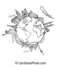 tekening, de, droom, reizen, rond de wereld, in, een,...