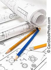 tekening, en, gevarieerd, gereedschap