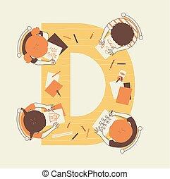 tekening, geitjes, illustratie, alfabet, school