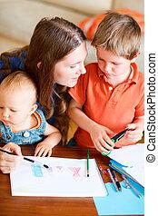 tekening, gezin