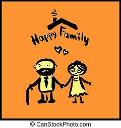 tekening, karakter, gelukkige familie, spotprent, hand