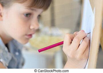 tekening, meisje, close-up, hand, schildersezel, potlood