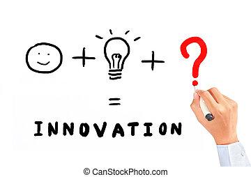 tekening, noodzakelijk, ding, voor, innovatie