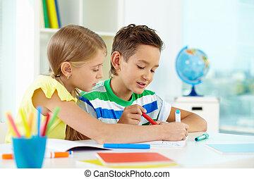 tekening, op, les