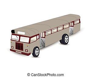 tekening, oud, illustratie, bus., vector, bus