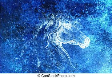 tekening, paarde, op, oud, papier, origineel, hand, draw., kleur, effect.
