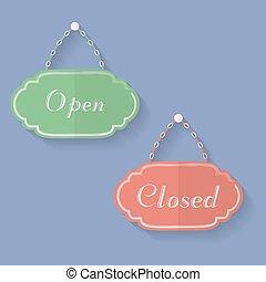 tekens & borden, van, open, en, closed., open, gesloten, iconen