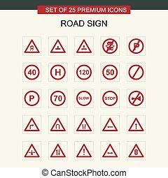 tekens & borden, vector, set, straat, iconen