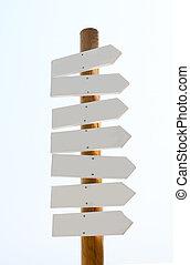 tekens & borden, witte , hout, vrijstaand, leeg