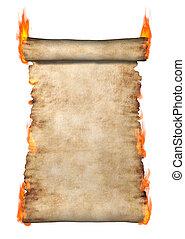 tekercs, égető, pergament